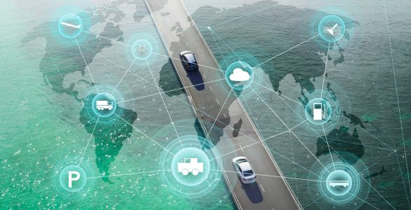 Weltkarte mit vernetzten Autos, Netzwerk Punkte